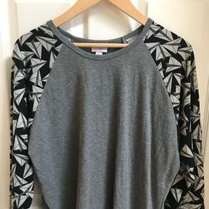 Lularoe XL Randy Shirt Vintage paper airplanes